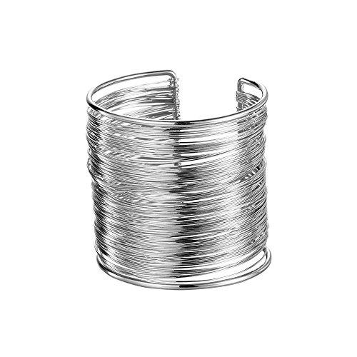 WLLAY Gold Silver Tone Wire Metal Coil Thin Thread Open Cuff Bangle Wide Bracelet for Girls Women (Silver) (Cuff Wire)