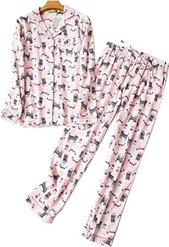 Womens Flannel Pajama Set 100% Cotton Soft PJs Long Sleeve Sleepwear Pink Cat L]()