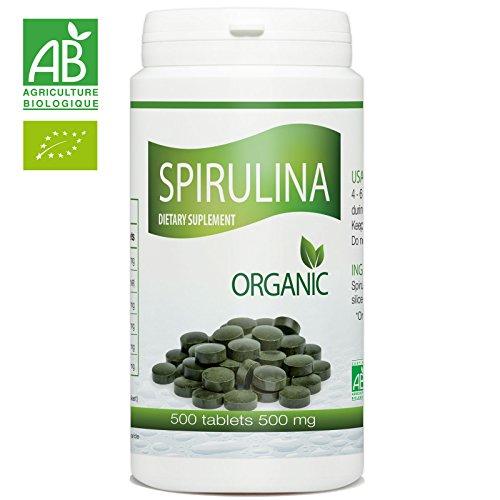 Organic Spirulina - 500 mg per tablet - 500 Tablets