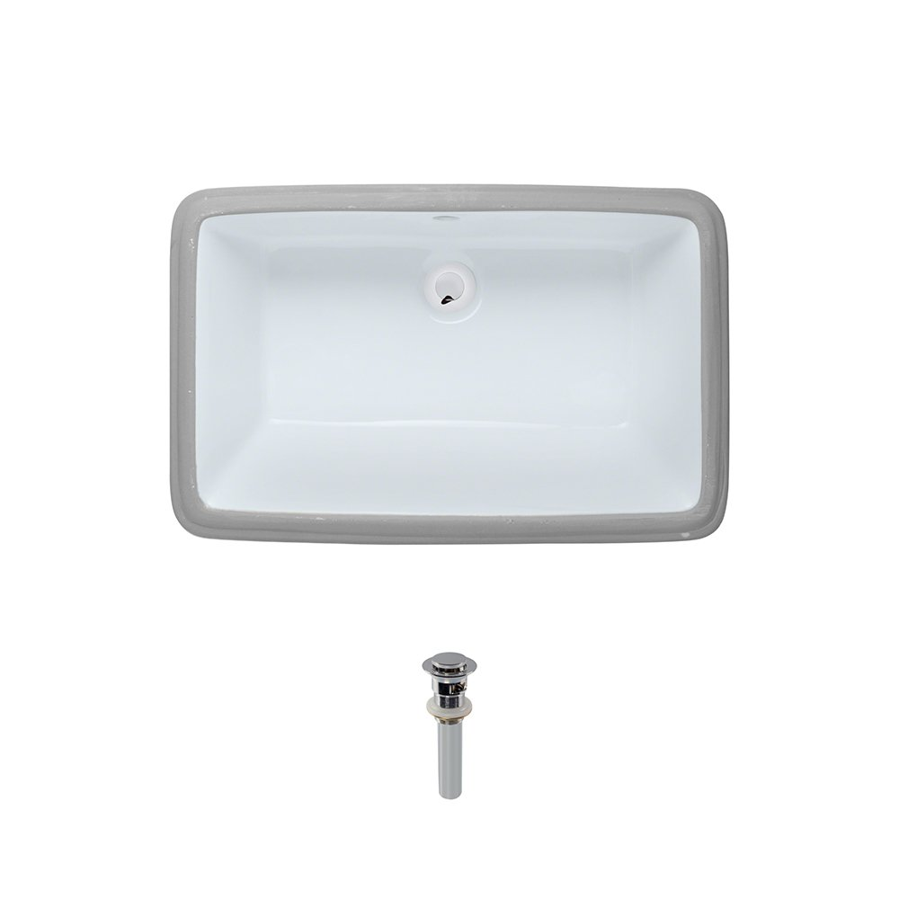 U1812-White Undermount Porcelain Bathroom Sink Ensemble, Chrome Pop-Up Drain by MR Direct