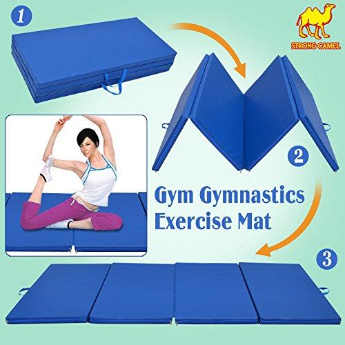 Strong Camel 4 Foldable Folding Panel Gym Gymnastics Exercise Yoga Mat Pad Blue Color (SIZE 4'x8'x2″)