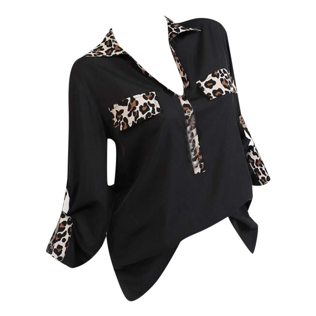 LEXUPE Damen-BeiläUfiger Leopard Druckte Knopf-EröFfnungs-T-Shirt Patchwork-Hemd-Spitzenbluse ZC3019 Sexy Revers-Leoparden-NäHte, LangäRmliges Hemdoberteil