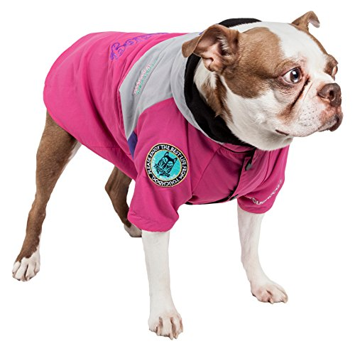 TOUCHDOG 'Mount Pinnacle' Waterproof and Windproof Fashion Designer Insulated Pet Dog Coat Ski Jacket Hooded Raincoat, X-Small, Pink