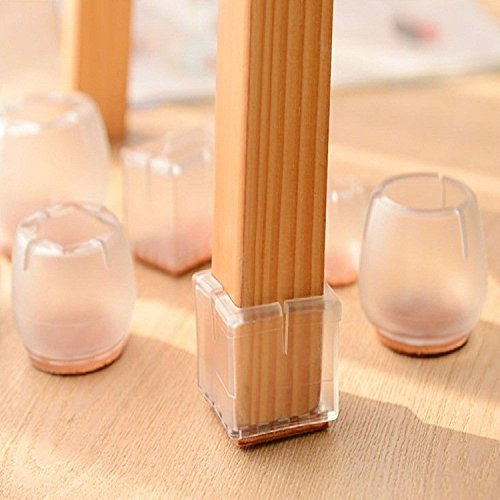 Table & Sofa Linens - Silica Gel Chair Foot Sleeve Thicken Transparent Slip Furniture Leg Cover Protective Sleeve - Chairman Fork Preside Wooden Crownwork Hot Seat Detonating Device - 10PCs ()