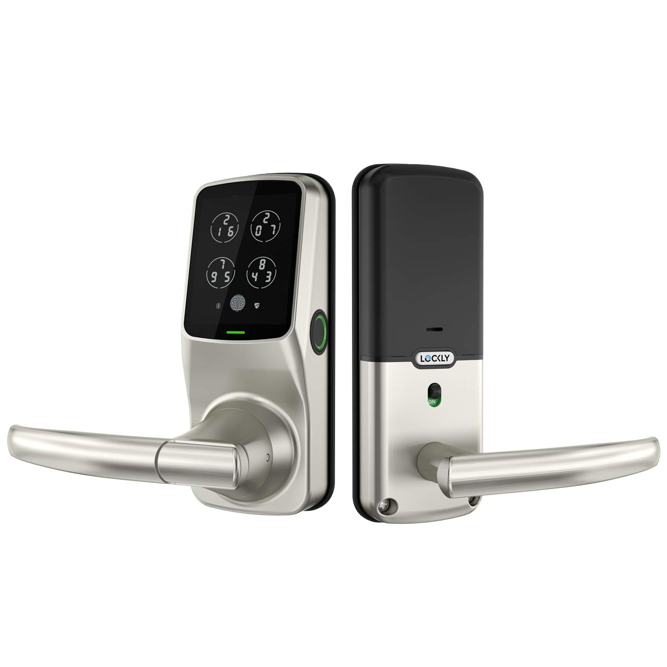 Lockly Fingerprint Bluetooth Keyless Entry Door Smart Lock (PGD628F) | Advanced Electronic Touchscreen System | Discrete PIN Code Input | iOS and Android | Auto Lock | Latch Edition (SatinNickel)