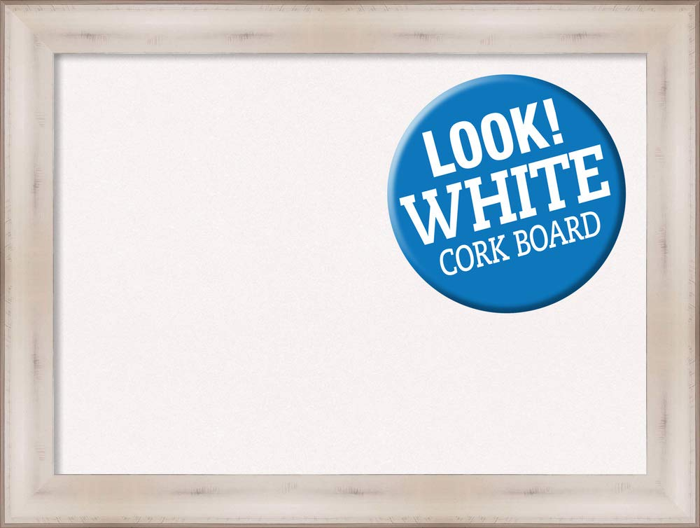 Amanti Art Cork Allure White Framed Bulletin Boards, 33 x 25,