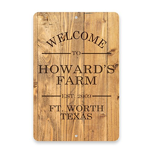 Wood Plank Welcome to the Farm Metal Room Sign ()