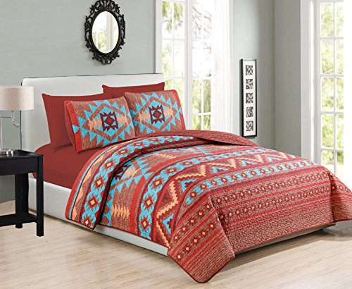 (Western Southwestern Native Indian American 6 Piece Bedding Quilt Bedspread And Fitted Sheet Set NO FLAT SHEET In Turquoise Red Orange Brown (6PC King))