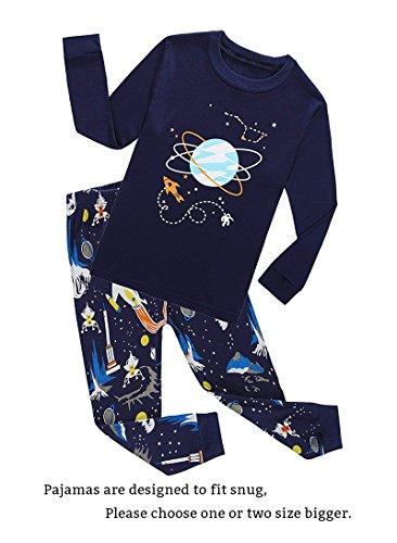 Space Big Boys Long Sleeve Pajama Sets for Child 100% Cotton Pyjamas Kids Pjs Size 8 Blue