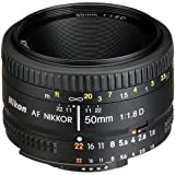 Nikon AF FX NIKKOR 50mm f/1.8D Lens with Auto Focus for Nikon DSLR Cameras (Renewed)