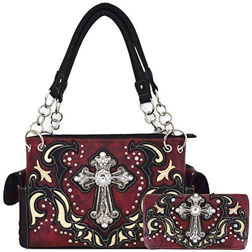 Western Style Rhinestone Cross Stud Concealed Carry Purse Laser Cut Handbag Women Shoulder Bag Wallet Set (Red Set)