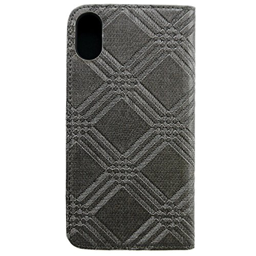 iPhone X Case, Uunique, Grey, Checkered Leather design with (Genuine Wood) & combination of Aluminium Book / Folio Case, Magnetic Closing, Stand Function, Premium Protective Cover, Book Case for Apple