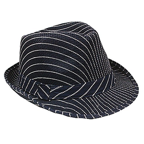 (SILVERFEVER Banded Stripe Fedora Pinstripe Thin Brim Trbly Hat Ganster Gatsby Costume Hats)
