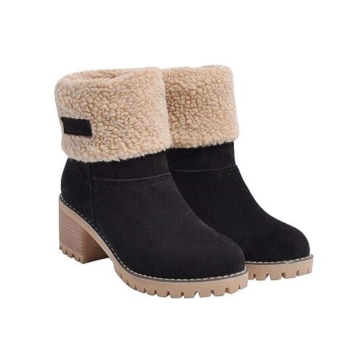 Widewing Botas de Nieve para Mujer Zapatos de Gamuza de Piel Sintética de Invierno Cálido Tacones