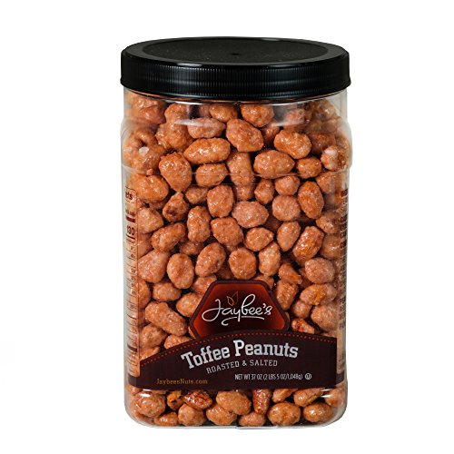Jaybee's Tasty Toffee Peanuts - Great for Holiday Gift Giving or As Everyday Snack - Reusable Container - Certified Kosher Perfect Nuts (37 Ounces)