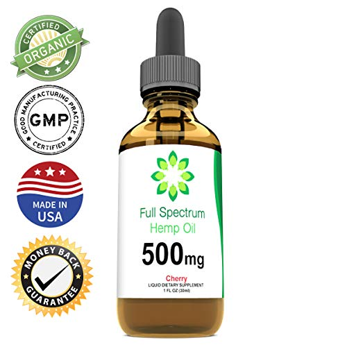 Hemp Oil for Pain Relief - Helps with Anxiety, Chronic Pain, Sleep, Mood, Skin and Hair - Herbal Drops - Rich in Omega 3,6,9 Fatty Acids - Natural Anti Inflammatory - 500mg - Cherry Flavor