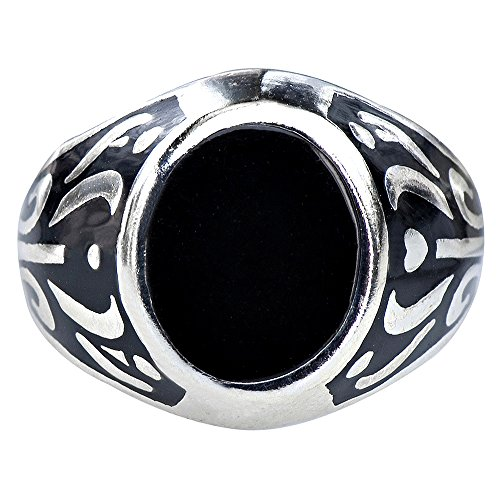 (Caratera Mens Rings Men's Classic Elven Pleasure Natural Black Onyx Statement Ring 925 Silver Size 10)