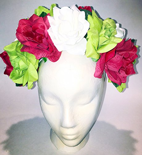 Red White Green Roses Flower Crown Mexican Wedding Headband ()