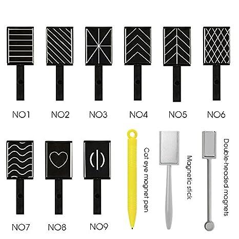 QIMEIYA 12 piezas/set 3d imán magnético ojo de gato bolígrafo dibujo Vertical Stick para herramientas de uñas polaco mágico: Amazon.es: Belleza