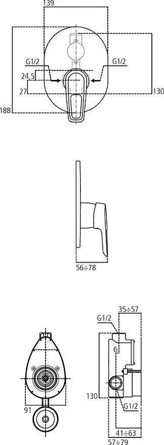 Ideal Standard a6665aa partie ext/érieure Mitigeur douche Ceramix