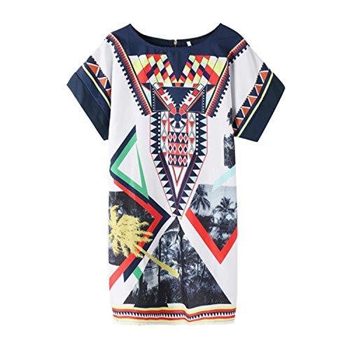 - Ashley-OU O-Neck Geometric Print Straight Dress Leisure Boho Summer Beach National Style Mini Dress,Blue,M,US