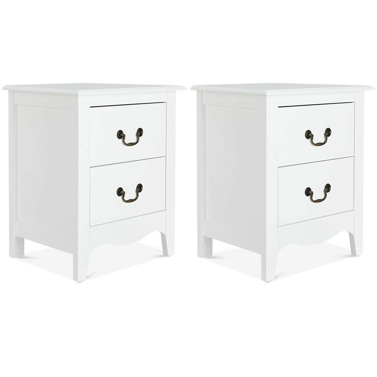 Giantex Nightstand Bedside Table Cabinet Bedroom Furniture Storage Bedside Sofa Table W/ 2 Drawers for Living Room, Bedroom End Side Table (2) by Giantex
