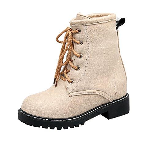 YE Damen Blockabsatz Ankle Boots Plateau Stiefeletten mit Schnürung Elegant Schuhe Beige