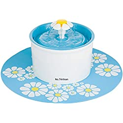 NO.7Artisan Pet Flower Fountain Automatic Electric Water Bowl (Blue)