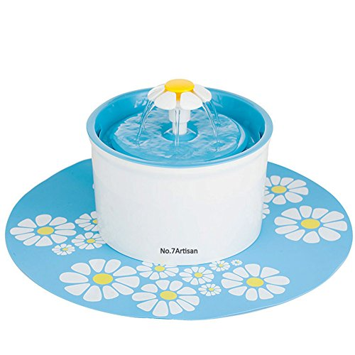 NO.7Artisan Pet Flower Fountain Automatic Electric Water Bowl (Blue) by NO.7Artisan