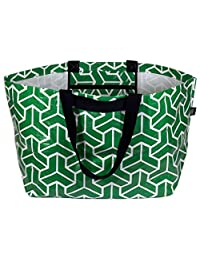 Stylish Beach Swim Bag Practical Lightweight Extra-Large Carry-all Tote Bag Heritage Green Geometric