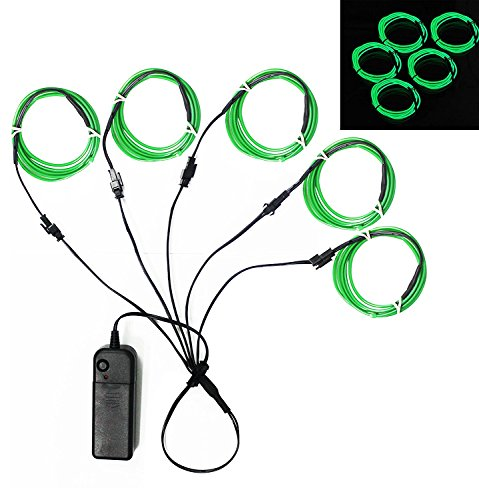 Ourbest El Wire Green Neon Light Wire Battery Pack 3ft Electroluminescent Strip Costume Lights Glowing Strobe String Kit Battery Operated Rope for Halloween Christmas Party Decoration DIY Sign (5x 1m) (Super Easy Fast Halloween Costumes)