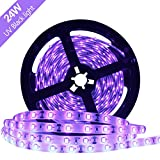 YGS-Tech 24 Watts UV Black Light LED Strip, 16.4FT/5M 3528 300LEDs 395nm-405nm Waterproof IP65 Blacklight Night Fishing Sterilization implicitly Party with 12V 2A Power Supply