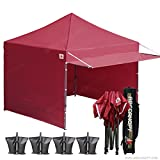 ABCCANOPY (20+colors 10×10 Easy Pop up Canopy Tent Instant Shelter Commercial Portable Market Canopy with Matching Sidewalls, Weight Bags, Roller Bag,BOUNS Canopy awning (burgundy)