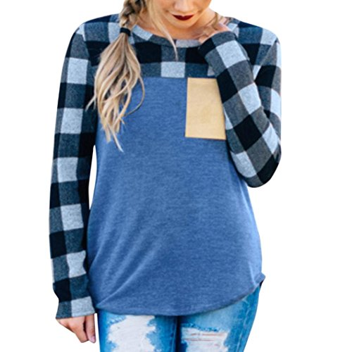 Blue Lattice Top (Fiaya Women O-Neck Long Sleeve Pocket Oversized Lattice Plaid Tops Blouse (Blue, XX-Large))