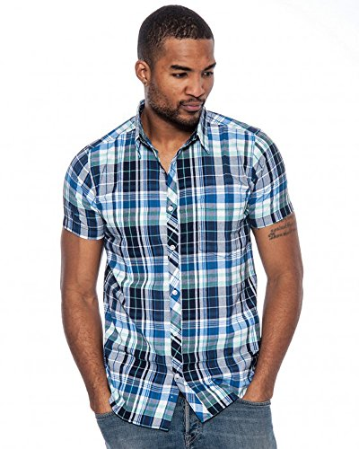 Price comparison product image Enimay Men's Business Casual Short Sleeve Plaid Button Down Fitted Shirt Blue Plaid 729 Small