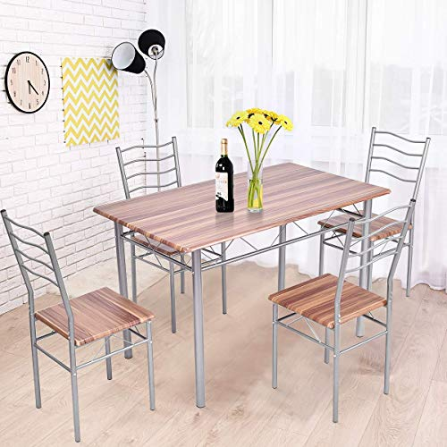 (Tangkula 5 Piece Dining Table Set, Modern Simple Design Wood Top and Metal Frame Dining Table and Chairs, Dining Room Kitchen Furniture Set Dining Room Table)