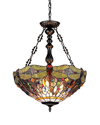 Chloe Lighting Chloe Lighting Dragan 3-Light Ceiling Chrome Inverted Tiffany-Style Dragonfly Pendent with 18 in. Shade - Inverted Pendent