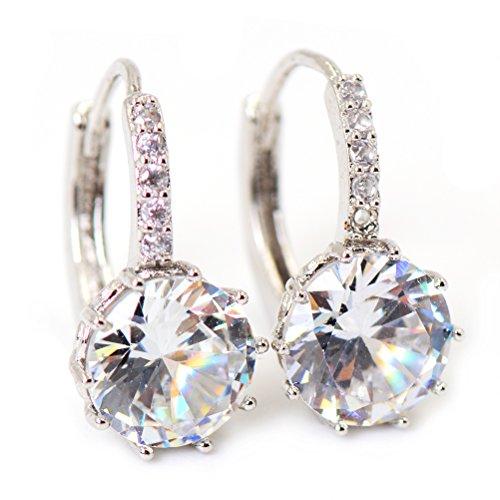 JUNKE Girl¡¯s Cubic Zirconia Diamond Round Stone Earrings, Fashion Crystal Zircon Copper Alloy Drop Shape Hoop Earrings