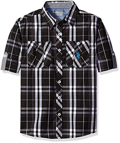 U.S. Polo Assn. Little Boys' Long Sleeve Plaid Two Pleated Pocket Sport Shirt, Black, 7 by U.S. Polo Assn.