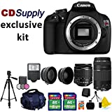 Canon EOS Rebel T5 18MP Digital SLR Camera with Canon EF-S 18-55mm f/3.5-5.6 IS [Image Stabilizer] II Zoom Lens & & EF 75-300mm f/4-5.6 III Telephoto Zoom Lens + Tele & Wide Angle Lenses for 58mm + Photo & Video High Quality Tripod + 58 MM 3 piece Filter Kit + External Flash + High Quality SLR Case + 24GB Memory + Hi Speed SD USB Card Reader + CD Supply Deluxe Accessory Bundle