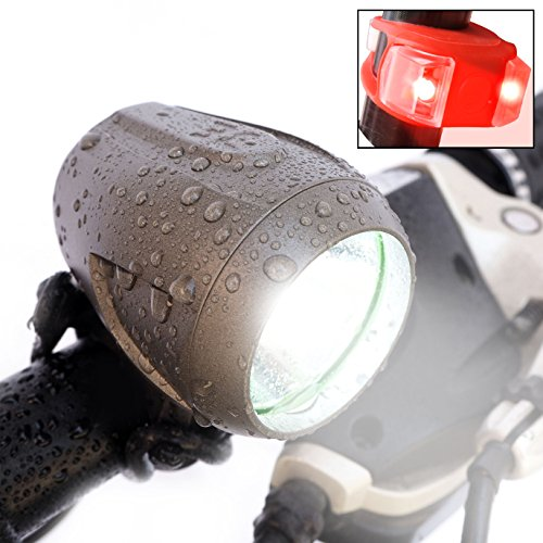 Cycling Headlight - Bright Eyes Newly Upgraded and Fully Waterproof 1200 Lumen Rechargeable Mountain, Road Bike Headlight, 6400mAh Battery (Now 5+ Hours on Bright Beam). Free Diffuser Lens/TAILLIGHT (Silver-Gray)