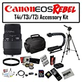 Deluxe Accessory Kit for Canon EOS Rebel T2i T3i T4i T5i 550D 600D 650D 700D Kiss X4 X5 X6 X6i X7i DSLR Digital Camera with Sigma 70-300mm f/4-5.6 DG Lens, 2 Pack of Opteka LP-E8 Extended Battery Pack, 32GB SDHC High Speed Memory Card and More!