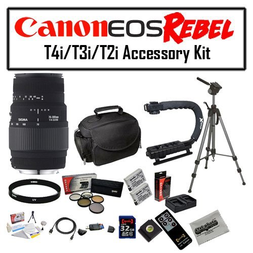 Deluxe Accessory Kit for Canon EOS Rebel T2i T3i T4i T5i 550D 600D 650D 700D Kiss X4 X5 X6 X6i X7i DSLR Digital Camera with Sigma 70-300mm f/4-5.6 DG Lens, 2 Pack of Opteka LP-E8 Extended Battery Pack, 32GB SDHC High Speed Memory Card and More! by 47th Street Photo