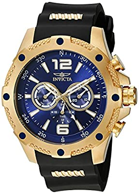 Invicta Men's 19659 I-Force 18k Gold Ion-Plated Watch with Black Polyurethane Band from Invicta