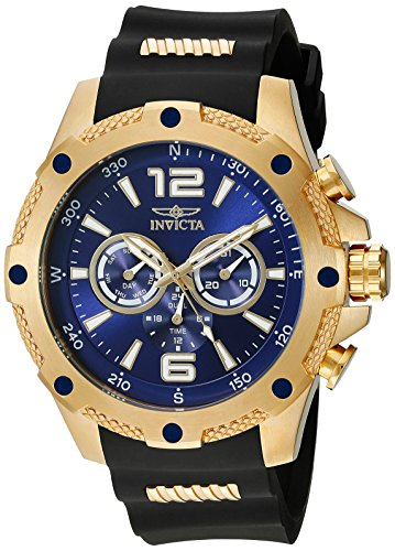 Invicta Men's 19659 I-Force 18k Gold Ion-Plated Watch with Black Polyurethane Band (Invicta 50 Millimeters)