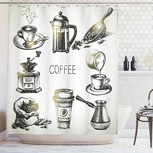 Ambesonne Coffee Shower Curtain, Brewing Equipment Doodle Sketch Grinder French Press Plastic Cup Scoop Vintage,Cloth Fabric Bathroom Decor Set with Hooks, 70 inches, Yellow Black