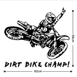 BEIKE Dirt Bike Champ Quotes Wall Sticker Motorcycle Rider Vinyl Adhesive Decals Removable Wallpaper Decor