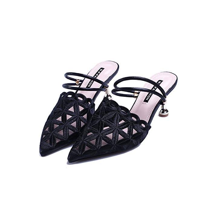 Sfsyddy Due 6cm Indossare Scarpe Con Tacchi Alti La Primavera E L'estate Una Cintura Svuotata Sandali I Unica Scarpa Signore