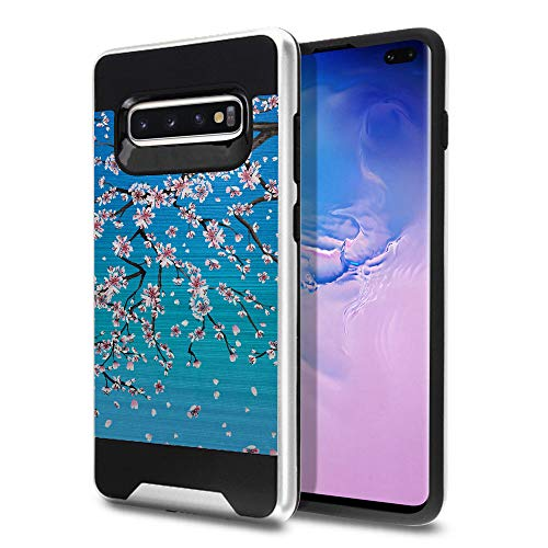 FINCIBO Case Compatible with Samsung Galaxy S10+ / S10 Plus 6.4 inch, Dual Layer Brushed Hybrid Hard Protector Case Cover TPU for Galaxy S10 Plus (NOT FIT S10, S10E) - ()