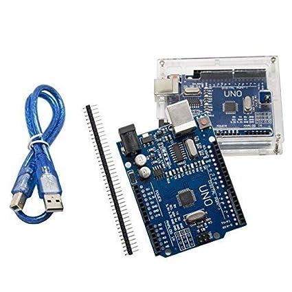 Uno R3 placa base ATmega328P – alleu u601cop con carcasa y cable USB compatible con Arduino UNO R3 3set NANO